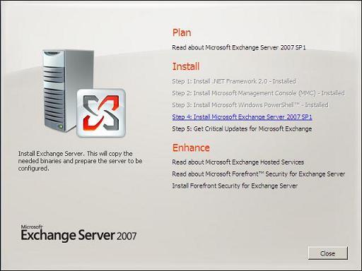 Install Exchange Server 2007